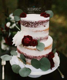 Свадебный торт бордовый 9