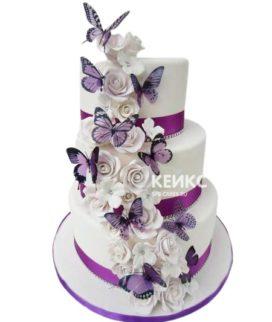 Свадебный торт с бабочками 14