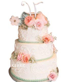 Свадебный торт с инициалами 12