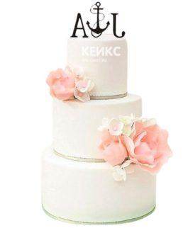 Свадебный торт с инициалами 21