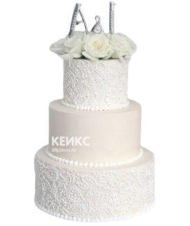 Свадебный торт с инициалами 22