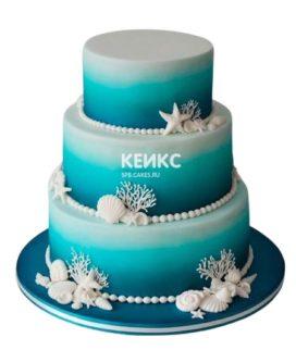 Свадебный торт в морском стиле 13