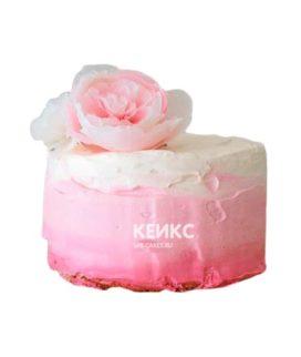 Торт бело-розовый 11