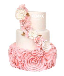 Торт бело-розовый 2
