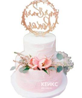 Торт бело-розовый 5