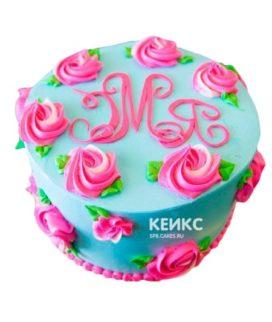 Торт розово-бирюзовый 1