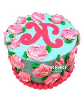 Торт розово-бирюзовый 10