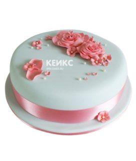 Торт розово-бирюзовый 12