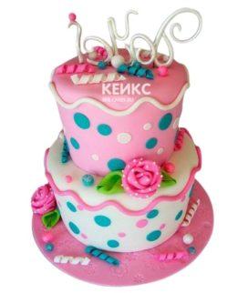 Торт розово-бирюзовый