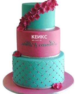 Торт розово-бирюзовый 3