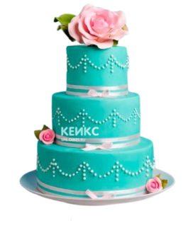 Торт розово-бирюзовый 4