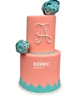 Торт розово-бирюзовый 5