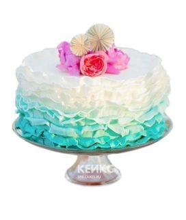 Торт розово-бирюзовый 6