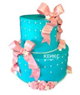 Торт розово-бирюзовый 7