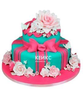 Торт розово-бирюзовый 8