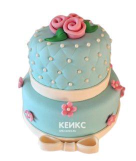 Торт розово-бирюзовый 9