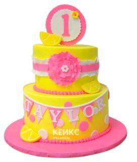 Торт желто-розовый 1