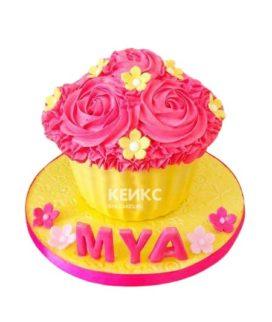 Торт желто-розовый 12