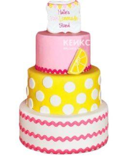 Торт желто-розовый 13