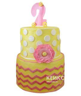Торт желто-розовый 14