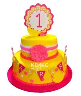 Торт желто-розовый 4