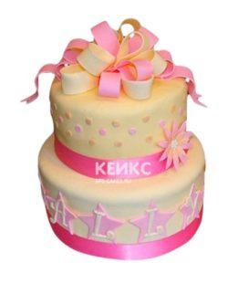 Торт желто-розовый 5