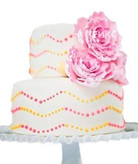 Торт желто-розовый 6