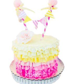 Торт желто-розовый 7