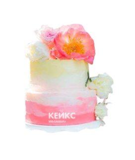 Торт желто-розовый 8