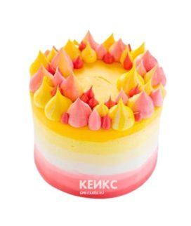 Торт желто-розовый 9