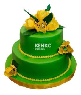 Торт желто-зеленый 4