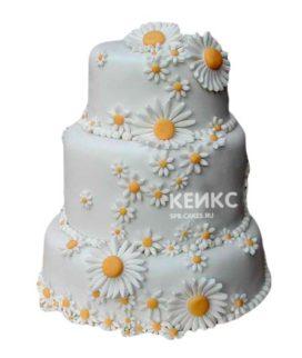 Свадебный торт с ромашками 11