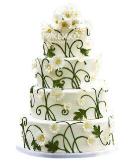 Свадебный торт с ромашками 12