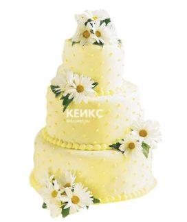 Свадебный торт с ромашками 13