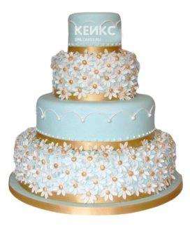 Свадебный торт с ромашками 5