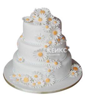 Свадебный торт с ромашками 7