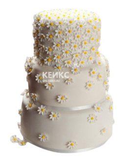 Свадебный торт с ромашками 8