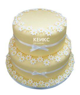 Свадебный торт с ромашками 9