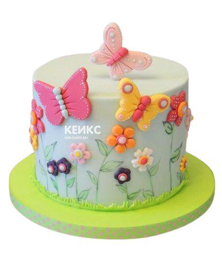 Торт Бабочки и Цветы 10