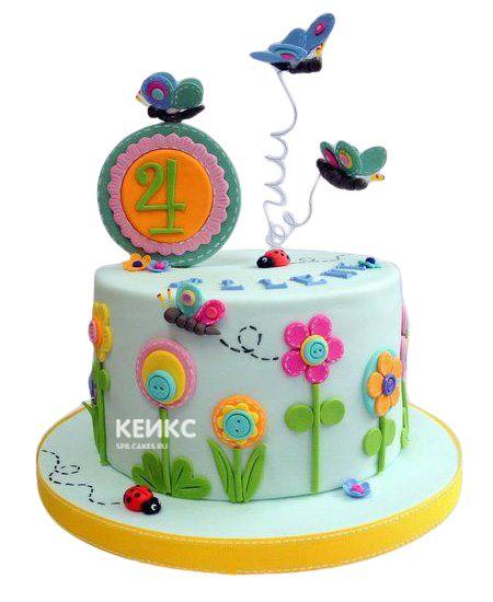 Торт Бабочки и Цветы 7