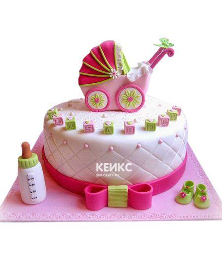 Торт для девочки на месяц и 40 дней 12