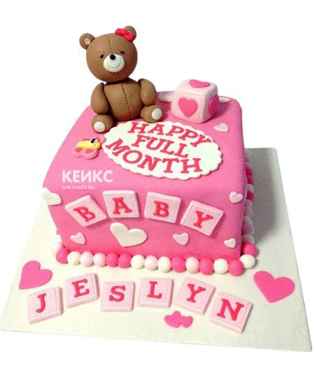 Торт для девочки на месяц и 40 дней 9