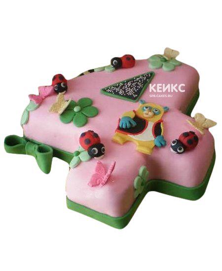 Торт с цифрой 4 для девочки 4