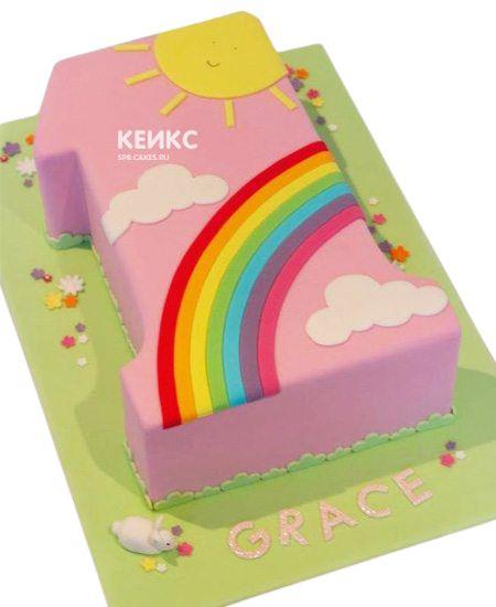 Торт с цифрой 1 для девочки