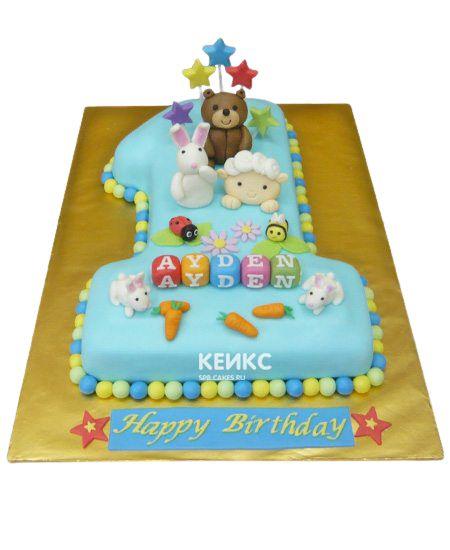 Торт с цифрой 1 для мальчика 13