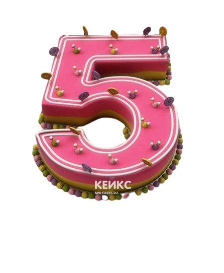 Торт с цифрой 5 для девочки 3