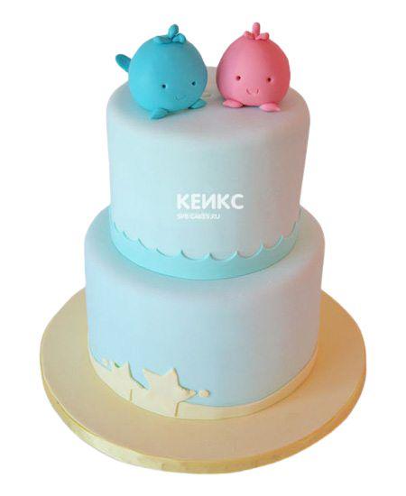 Торт для двойняшек Мальчику и Девочке 4