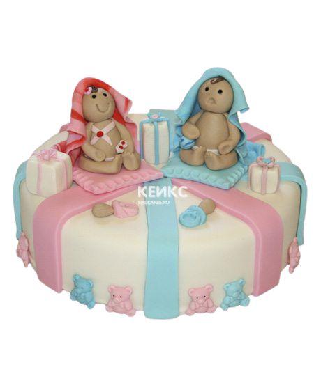 Торт для двойняшек Мальчику и Девочке 5