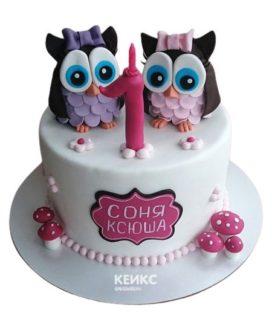 Торт для двойняшек на годик 5