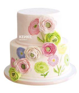 Торт с цветами для девочки 12